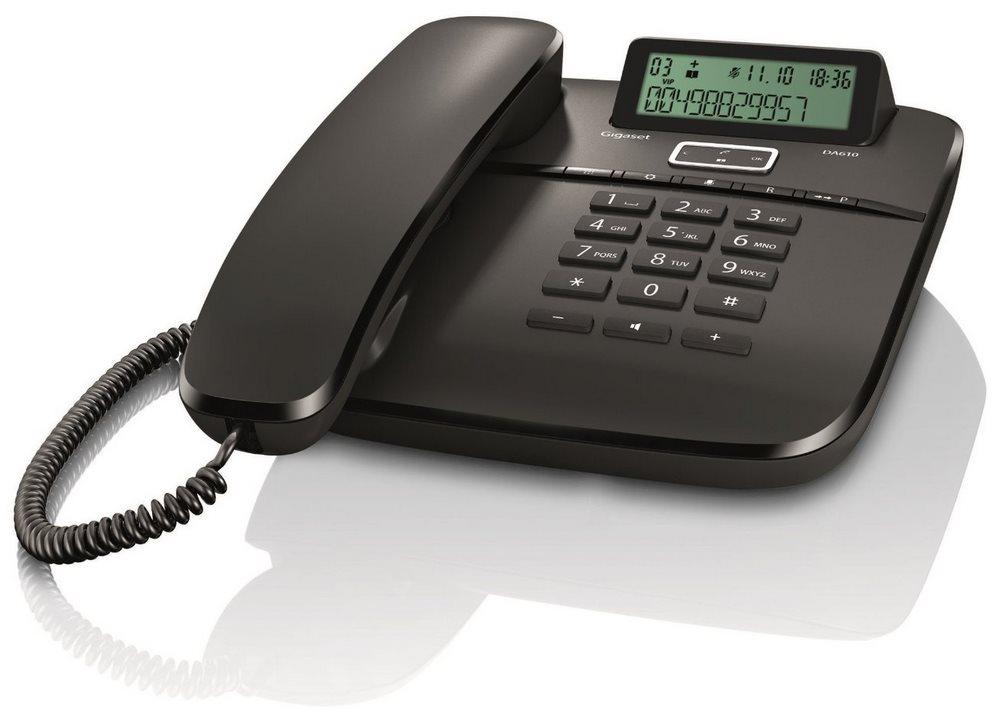 Standardní telefon SIEMENS GIGASET DA610 černý Standartní telefon, s displejem, černý GIGASET-DA610-BLACK