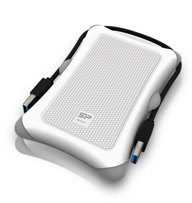 Pevný disk SILICON POWER 500 GB Pevný disk, externí, USB3.0, vysoce odolný, bílý SP500GBPHDA30S3W