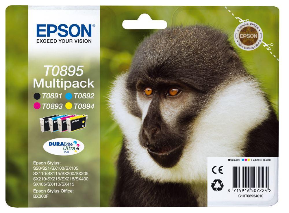 Inkoustová náplň Epson MULTIPACK/ C13T08954010 , S20, SX100, SX200, SX400, 4 barvy C13T08954010