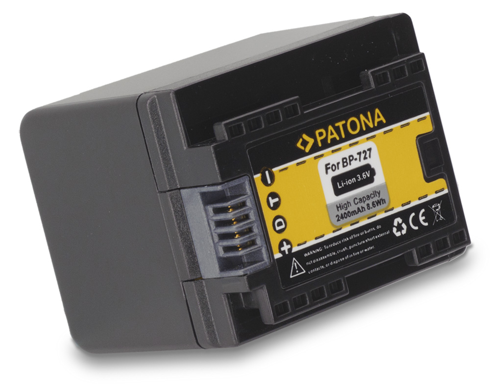 Baterie PATONA kompatibilní s Canon BP-727 Baterie, pro videokameru, 2400mAh, Li-Ion PT1174
