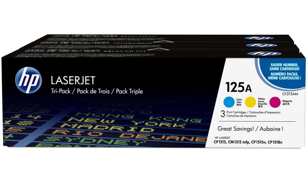 Toner HP 125A CF341AM trojpack CMY Toner, originální, pro HP Color LaserJet CP1515n, CP1518ni, CP1215, CM1312, trojpack, 3 x 1400 stran, CMY modrý, červený, žlutý CF373AM