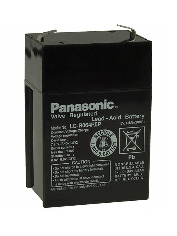 Baterie Panasonic LC-R064R5P Baterie, nabíjecí, olověná, do svítlen, pro telekomunikace, EZS, EPS, CCTV 6V, 4,5Ah, životnost 5 let 02499