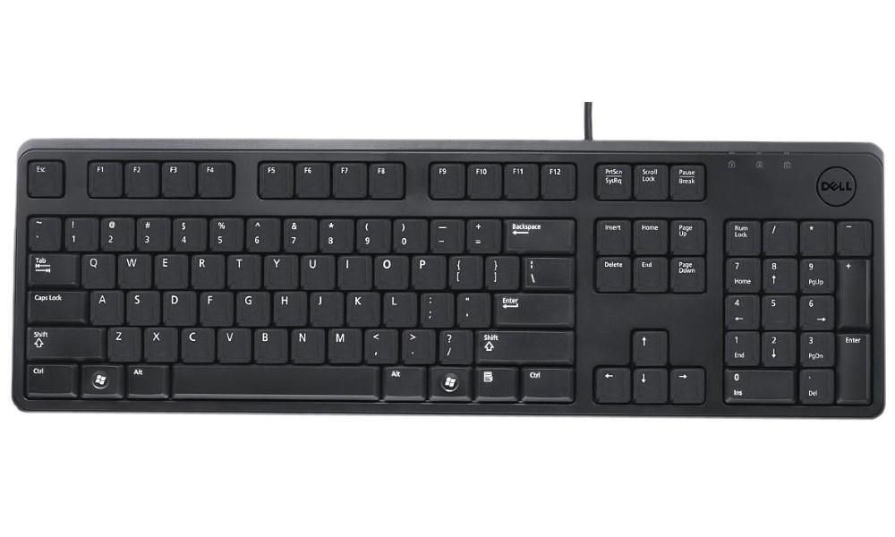 Klávesnice DELL KB212-B Klavesnice, Quietkey, Qwerty, US, mezinárodní, USB, drátová, černá 580-17609