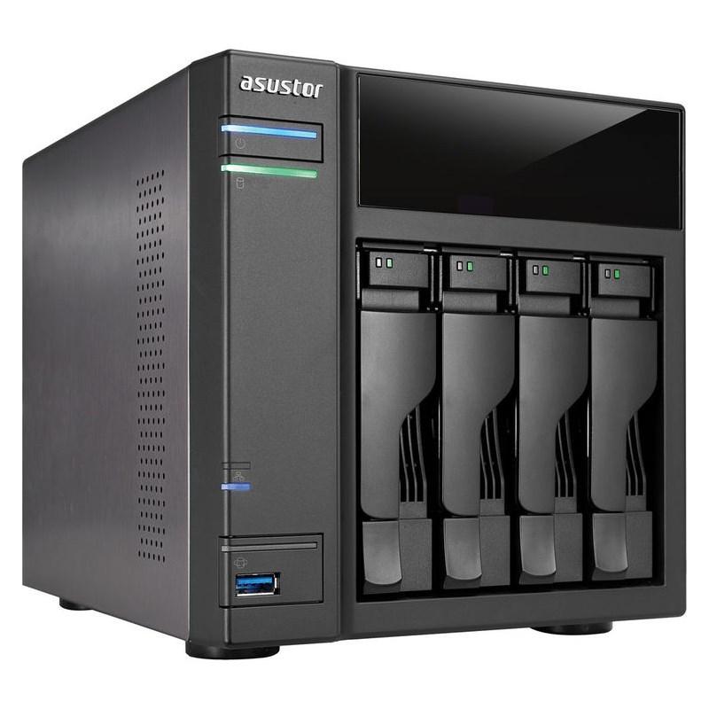 Síťové úložiště NAS Asustor AS-204T Síťové úložiště NAS, 4-bay NAS server, Dual Core Atom 1,2GHz, 512MB DDR3, 2xUSB 3.0, 2xUSB 2.0, 4 kamery AS-204T