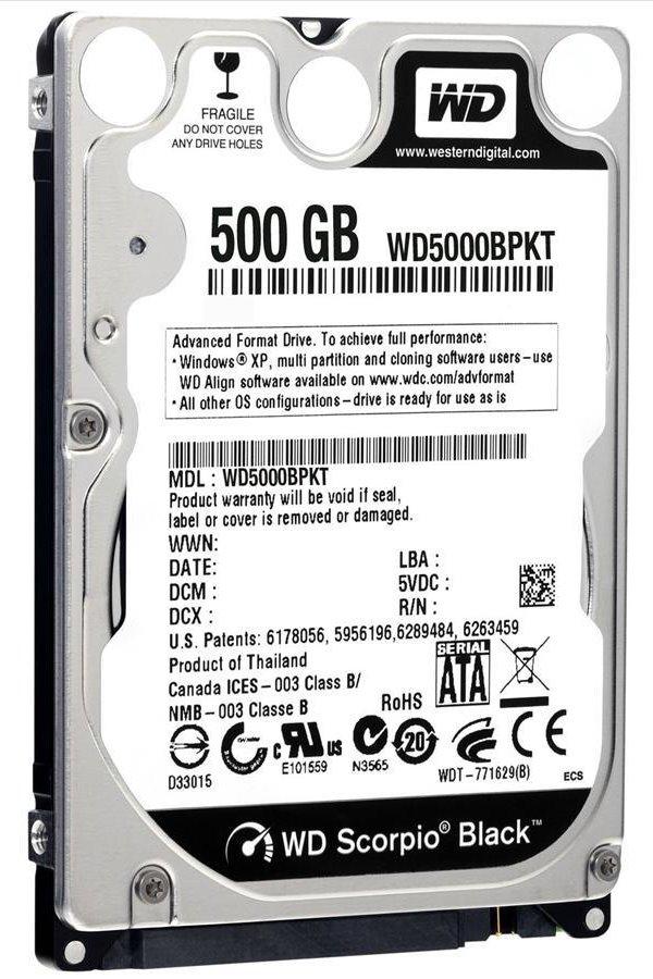 Pevný disk WD Scorpio Black 500 GB Pevný disk, WD5000BPKX, SATA III, Interní 2,5, 7200 RPM, 16 MB WD5000BPKX