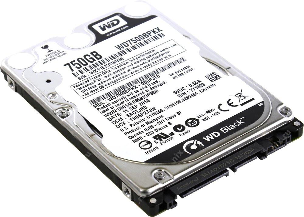 Pevný disk WD Scorpio Black 750 GB Pevný disk, WD7500BPKX, SATA III, Interní 2,5, 7200 RPM, 16 MB WD7500BPKX