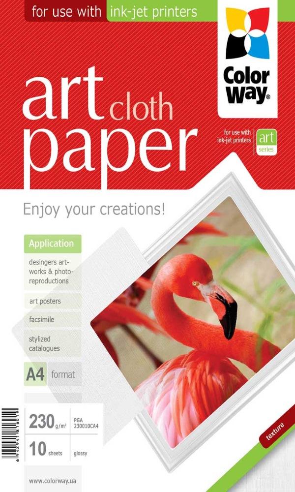 Fotopapír COLORWAY Art Cloth Paper A4 Fotopapír, lesklý, 230gm2, A4, 10 kusů PGA230010CA4