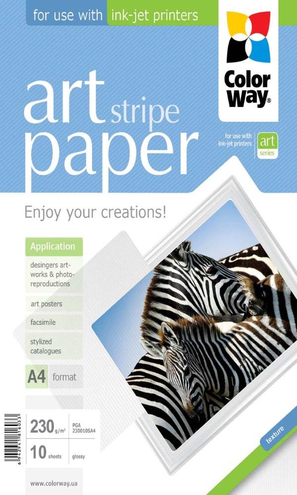 Fotopapír COLORWAY Art Stripe Paper A4 Fotopapír, lesklý, 230gm2, A4, 10 kusů PGA230010SA4