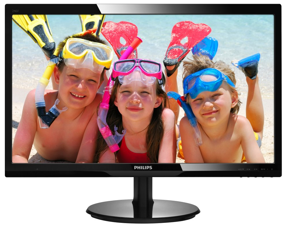 LED monitor PHILIPS 246V5LHAB 24 LED monitor, 16:9 1920x1080, 10.000.000:1, 5ms, D-SUB, HDMI, repro, černý 246V5LHAB/00