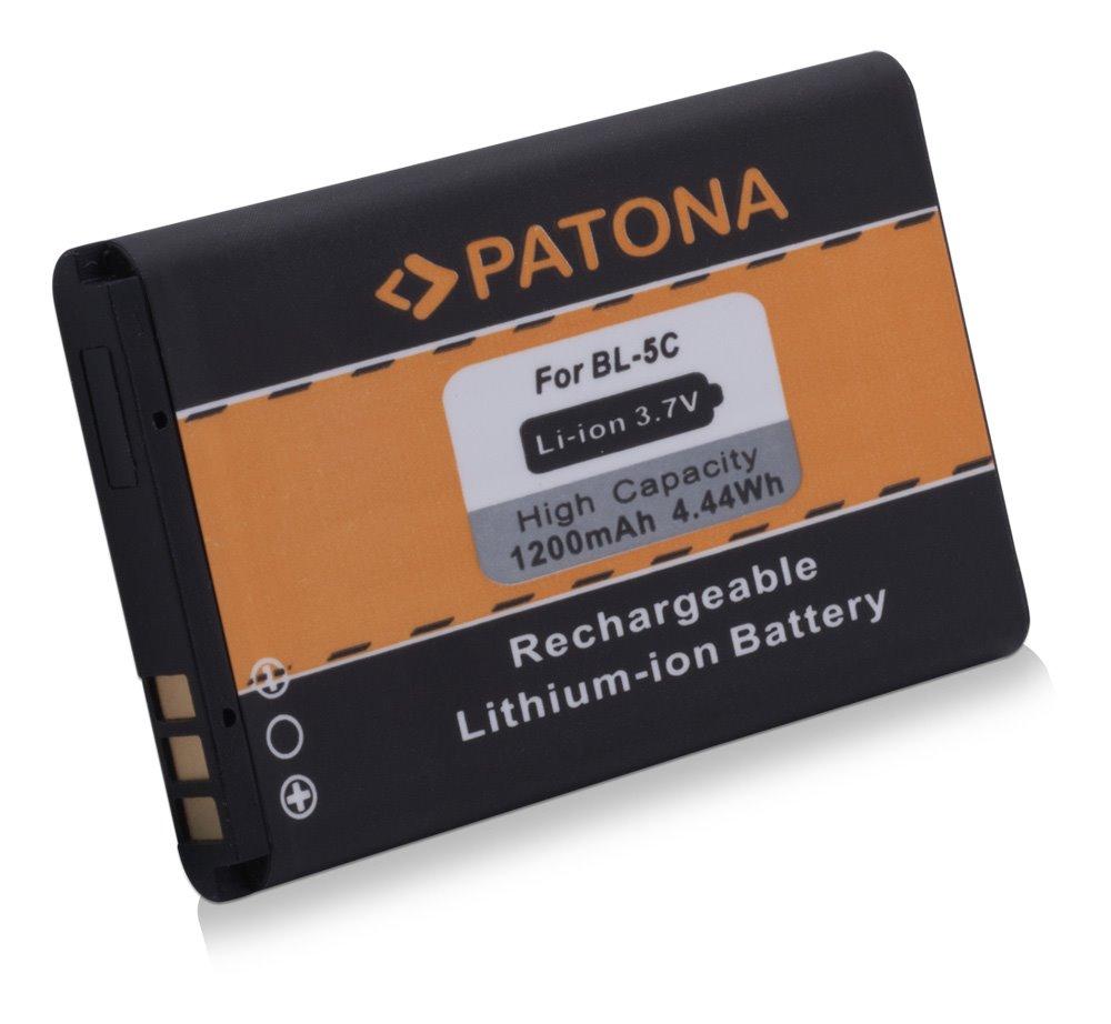 Baterie PATONA kompatibilní s Nokia BL-5C 1200mAh Baterie, pro mobilní telefon, BL-5C, 1400mAh, 3.7V, Li-Ion, Nokia 100, 101, 109, 112, 113, 1100, 1101, 1110, 1112, 1200, 1208, 1209, 1600, 1616, 1650, PT3036