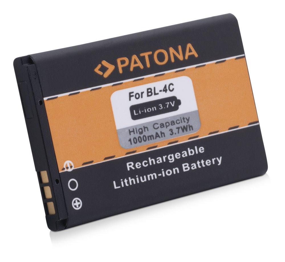 Baterie PATONA kompatibilní s Nokia BL-4C 1000mAh Baterie, pro mobilní telefon, BL-4C, 1000mAh, 3.7V, Li-Ion, Nokia 1661, Nokia 1662, Nokia 2650, Nokia 2651, Nokia 2652, Nokia 2690, Nokia 3108, Nokia PT3031