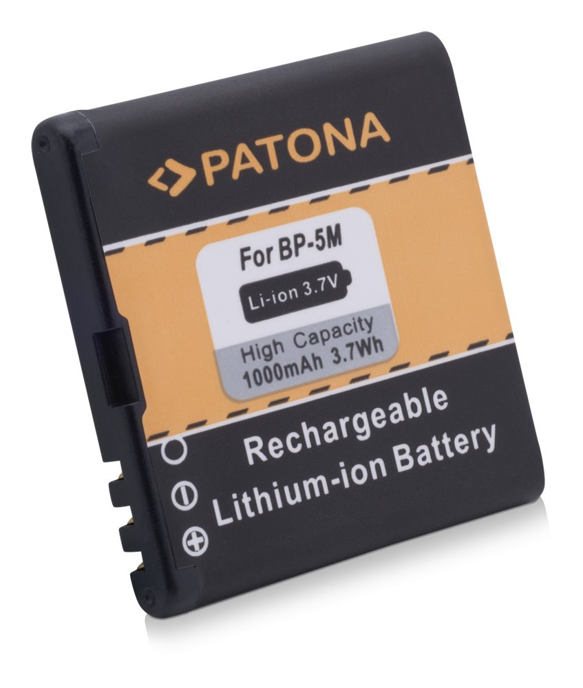 Baterie PATONA kompatibilní s Nokia BP-5M 1000mAh Baterie, pro mobilní telefon, BP-5M, 1000mAh, 3.7V, Li-Ion, Nokia 100, Nokia 5610, Nokia 5610 XpressMusic, Nokia 5700, Nokia 5700 XpressMusic, Nokia 6 PT3032