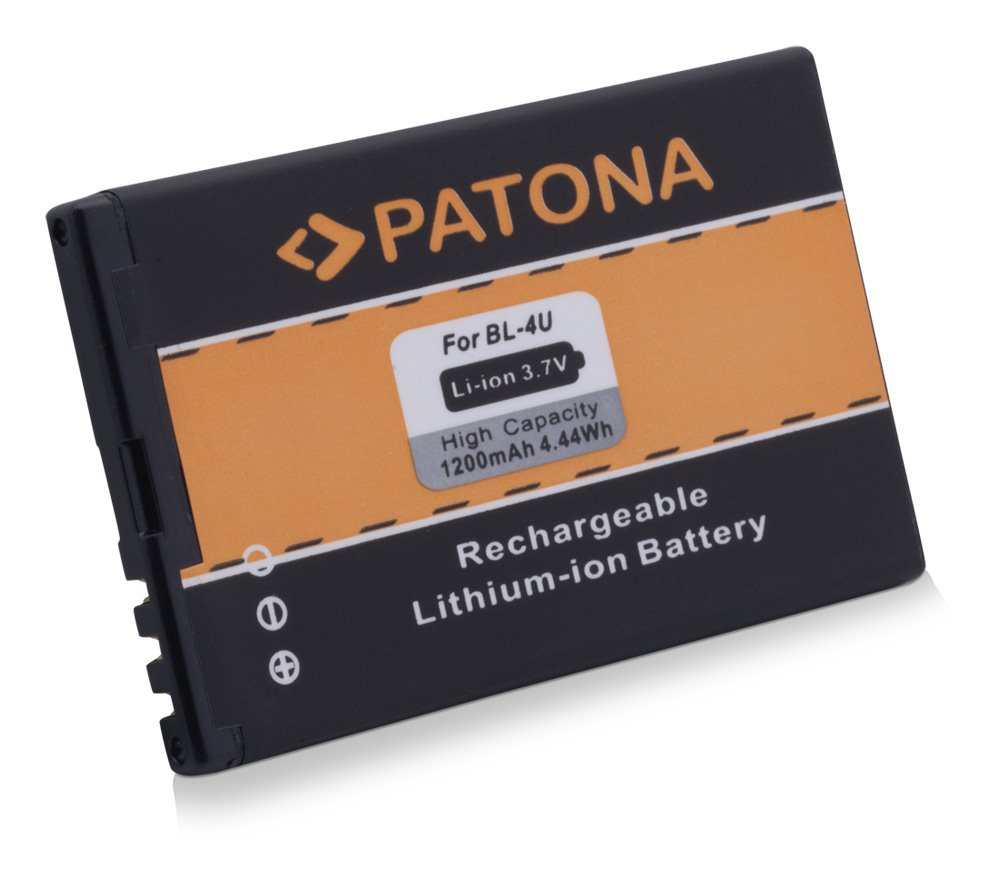 Baterie PATONA kompatibilní s Nokia BL-4U 1200mAh Baterie, pro mobilní telefon, BL-4U, 1200mAh, 3,7V, Li-Ion, Nokia 5530, 5530, 8800, 8900, 3120 Classic, 6212 Classic, 6600 Slide, 8800 Arte, 8800 Sapp PT3038