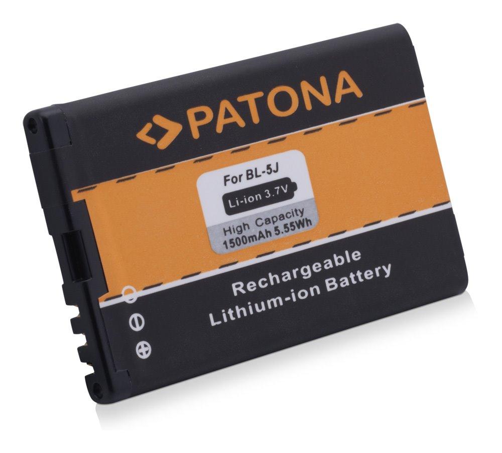 Baterie PATONA kompatibilní s Nokia BL-5J 1500mAh Baterie, pro mobilní telefon, BL-5J, 1500mAh, 3.7V, Li-Ion, Nokia 5228, 5233, 5800 Navigation, 5800 XpressMusic, 5800T, 5800xm, Nokia Asha 200, Asha 2 PT3044