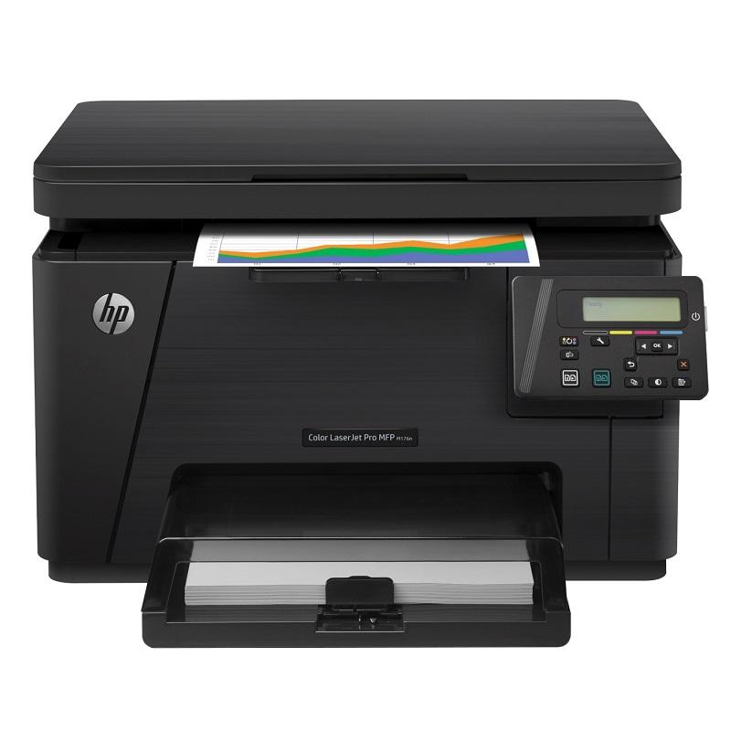 Multifunkční tiskárna HP LaserJet Pro MFP M176n Barevná multifunkční laserová tiskárna, 100 color, A4, print+scan+copy, 600x600, USB, LAN, černá CF547A