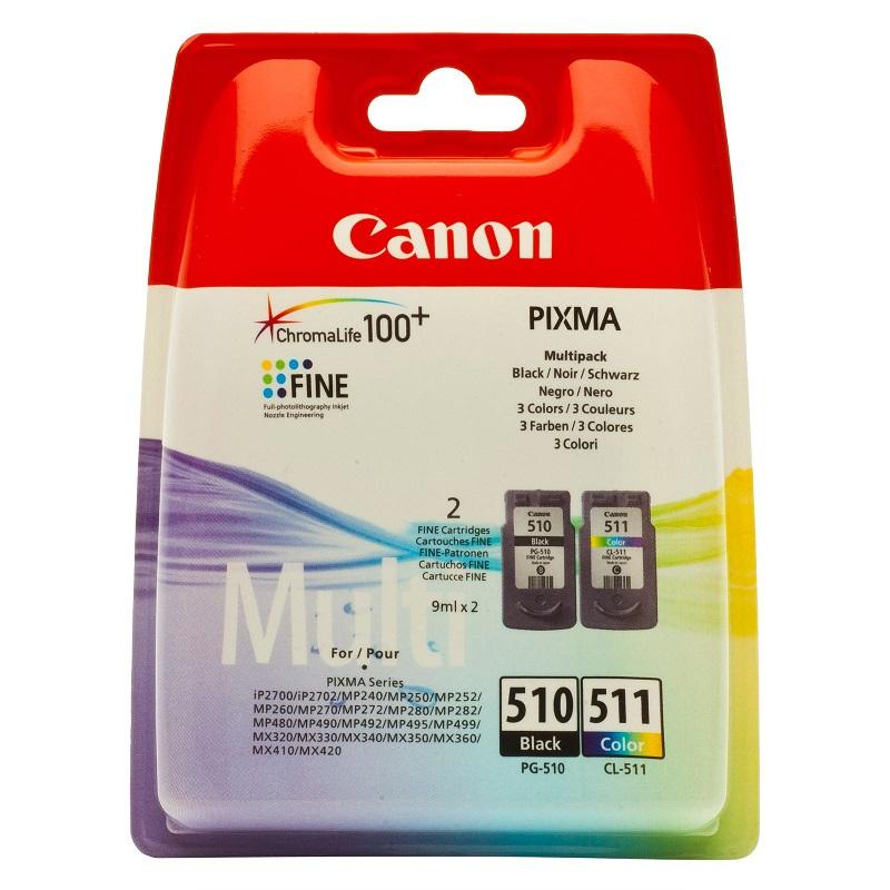 Inkoustová náplň Canon BJ PG-510 / CL-511 Inkoustová náplň pro iP2700, 2702, MP240, 250, 252, 260, 270, 272, 280, 282, 480, 490, 492, 495, 499, MX320, 330, 340, 350, 360, 410, 420 2970B010