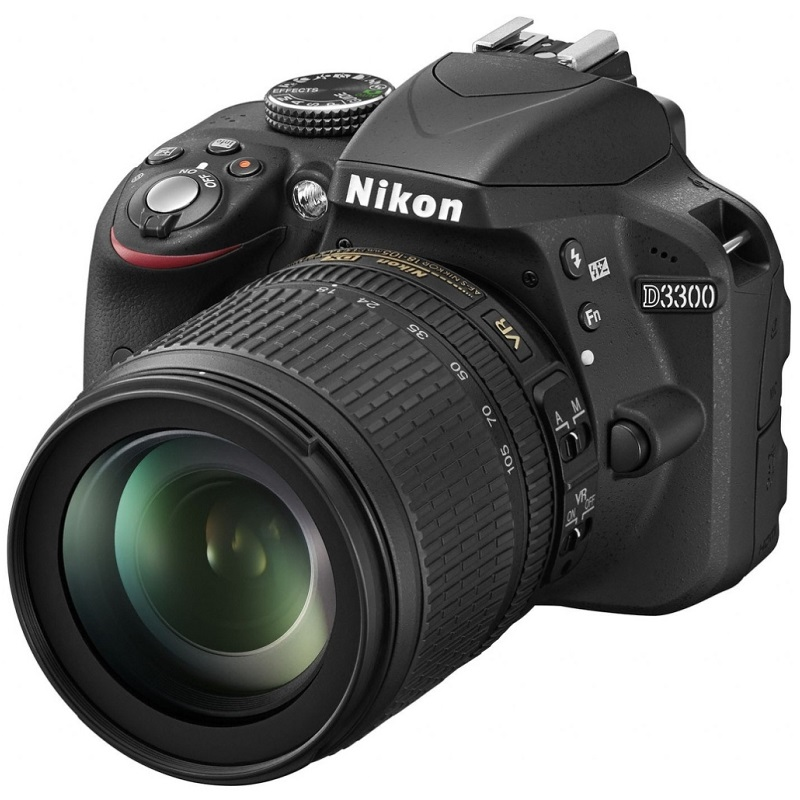 Digitální zrcadlovka Nikon D3300 + 18-105 VR Digitální zrcadlovka, CMOS, 24,2 MPx, s objektivem 18-105 VR, černá VBA390K005