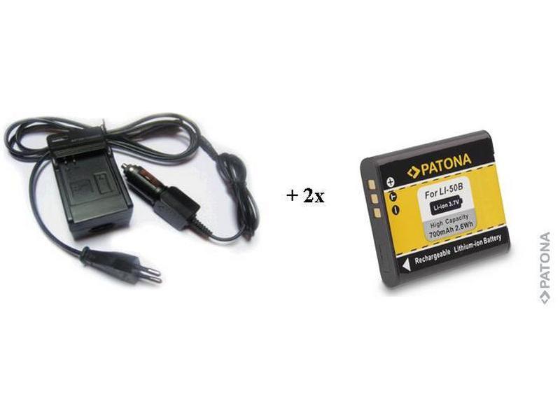Nabíječka PATONA + 2 x baterie Olympus Li-50B Nabíječka, pro fotoaparát, 2x baterie, 700 mAh PT1573B