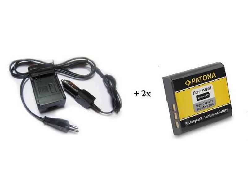 Nabíječka PATONA + 2 x baterie Sony NP-BG1 Nabíječka, pro fotoaparát, 2x baterie, 960 mAh PT1575B