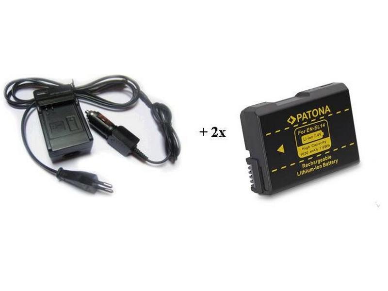 Nabíječka PATONA + 2 x baterie Nikon EN-EL14 Nabíječka, pro fotoaparát, 2x baterie, 1030 mAh PT1622B