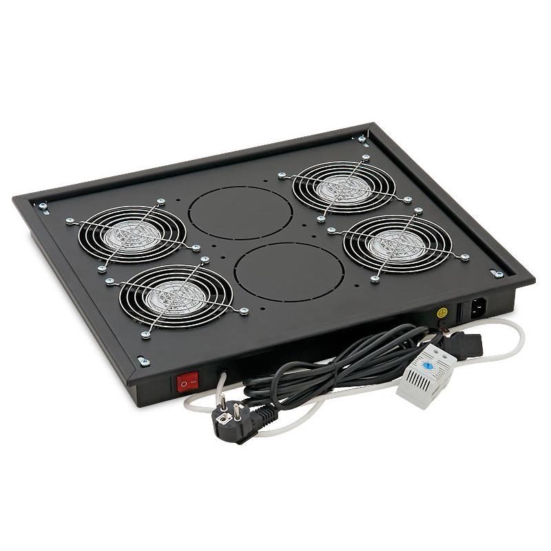 Ventilační jednotka Triton RAB-CH-X04-X3 Ventilační jednotka, spodní horní 220 V, 60 W, 4 x vent.+Termostat, černá barva RAB-CH-X04-X3