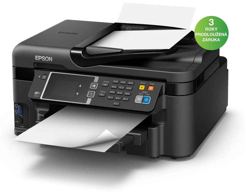 Multifunkční tiskárna EPSON WorkForce WF-3620DWF Barevná multifunkční inkoustová tiskárna, A4, 33ppm, 4800x2400dpi, 4 barvy, LCD, ADF, Fax, Wi-Fi, Síť, USB C11CD19302