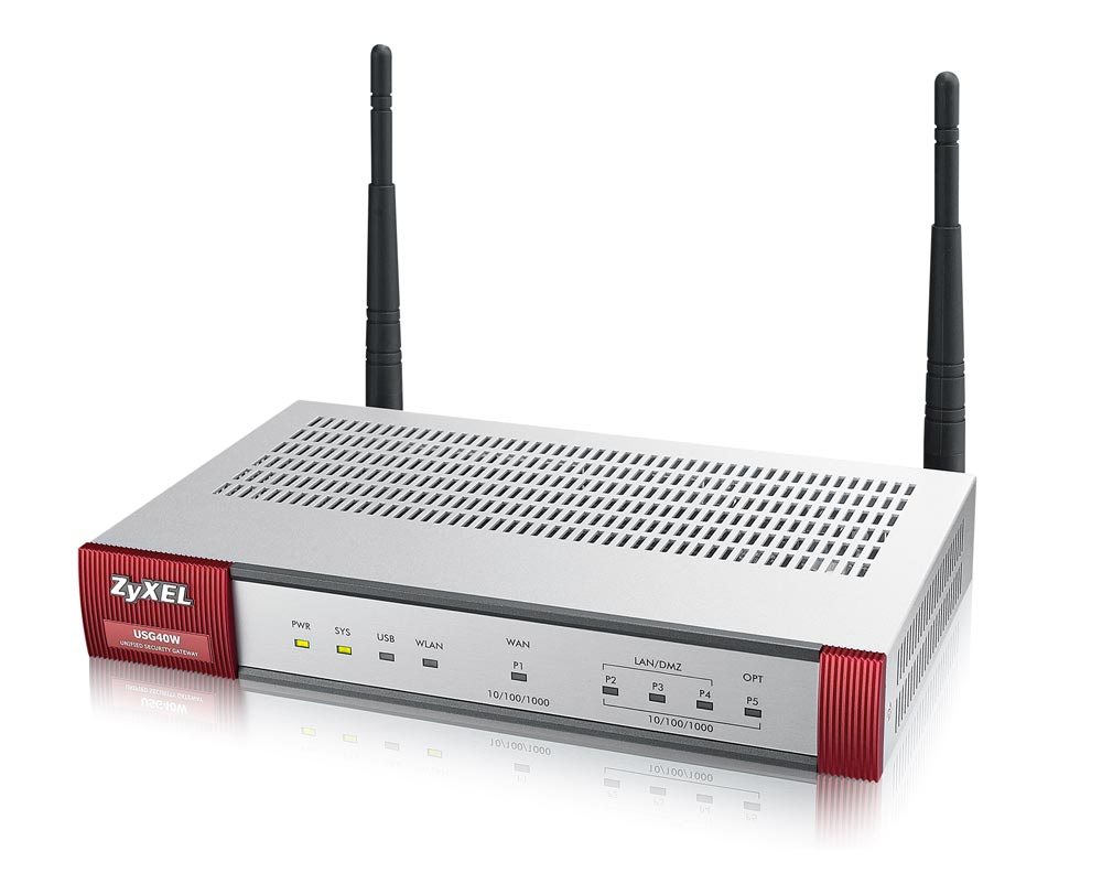 Firewall ZyXEL ZyWALL USG40W Firewall, VPN: 10x IPSec/ 7x SSL 2 default USG40W-EU0101F