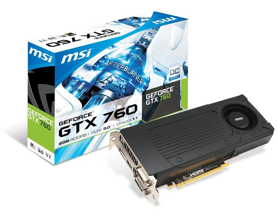 Grafická karta MSI N760-2GD5/OC Grafická karta, PCI-E, 2GB GDDR5, DVI, HDMI, DP - OPRAVENÉ VGMSI7972V