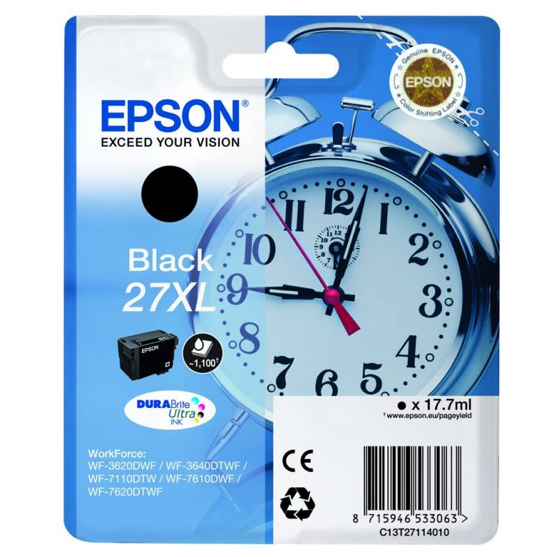 Inkoustová náplň Epson Black 27XL černá Inkoustová náplň, originální, pro Epson WorkForce WF-3620DWF WF-3640DTWF, WF-7110DTW, WF-7610DWF, WF-7620DTWF, XL, černá C13T27114010