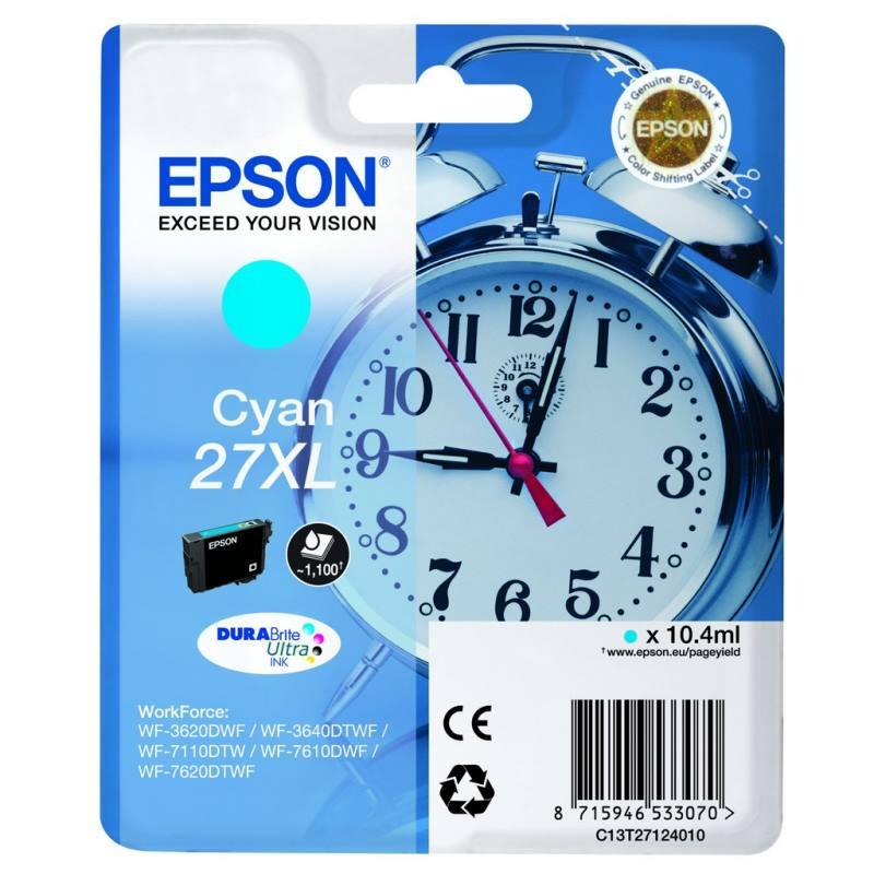 Inkoustová náplň Epson 27XL modrá Inkoustová náplň, originální, pro Epson WorkForce WF-3620DWF, 3640DTWF, 7110DTW, 7610DWF, 7620DTWF, modrá C13T27124010