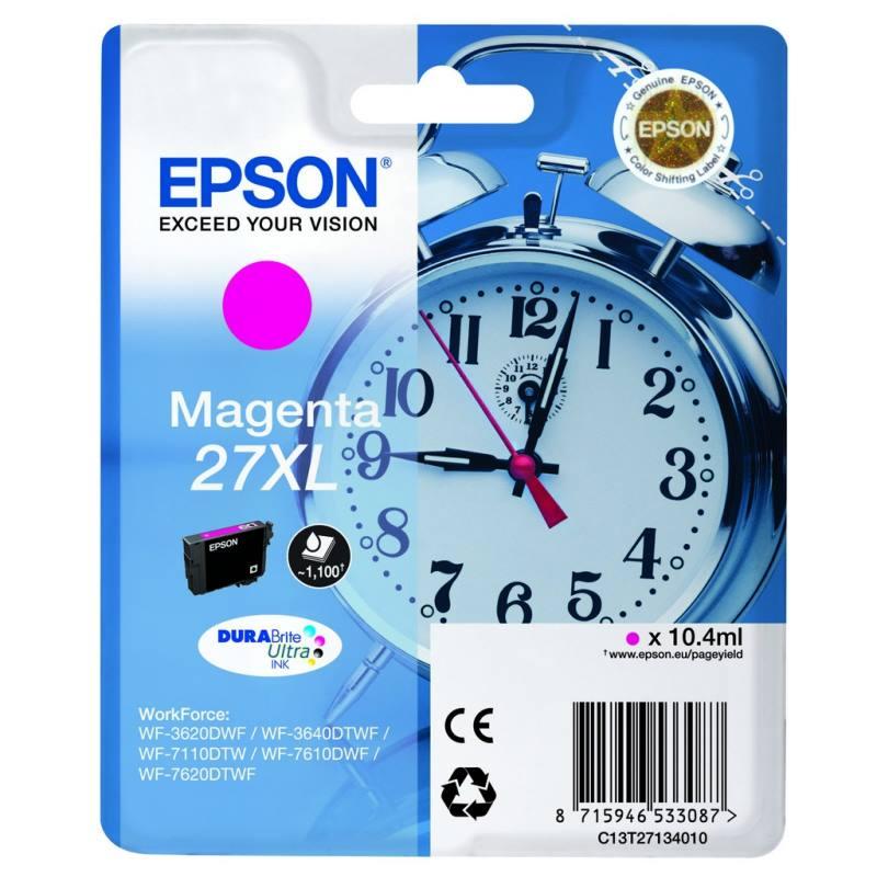Inkoustová náplň Epson 27XL purpurová Inkoustová náplň, originální, pro Epson WorkForce WF-3620DWF, 3640DTWF, 7110DTW, 7610DWF, 7620DTWF, purpurová C13T27134010