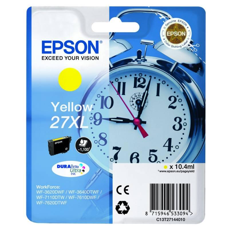 Inkoustová náplň Epson 27XL žlutá Inkoustová náplň, originální, pro Epson WorkForce WF-3620DWF, 3640DTWF, 7110DTW, 7610DWF, 7620DTWF, žlutá C13T27144010