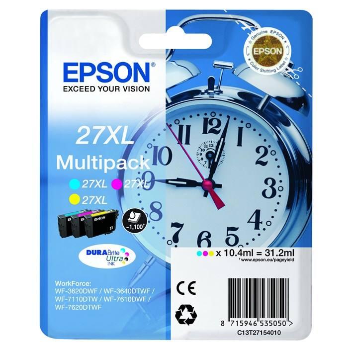 Inkoustová náplň Epson 27XL CMY Inkoustová náplň, originální, pro Epson WorkForce WF-3620DWF WF-3640DTWF, WF-7110DTW, WF-7610DWF, WF-7620DTWF, XL, CMY C13T27154010