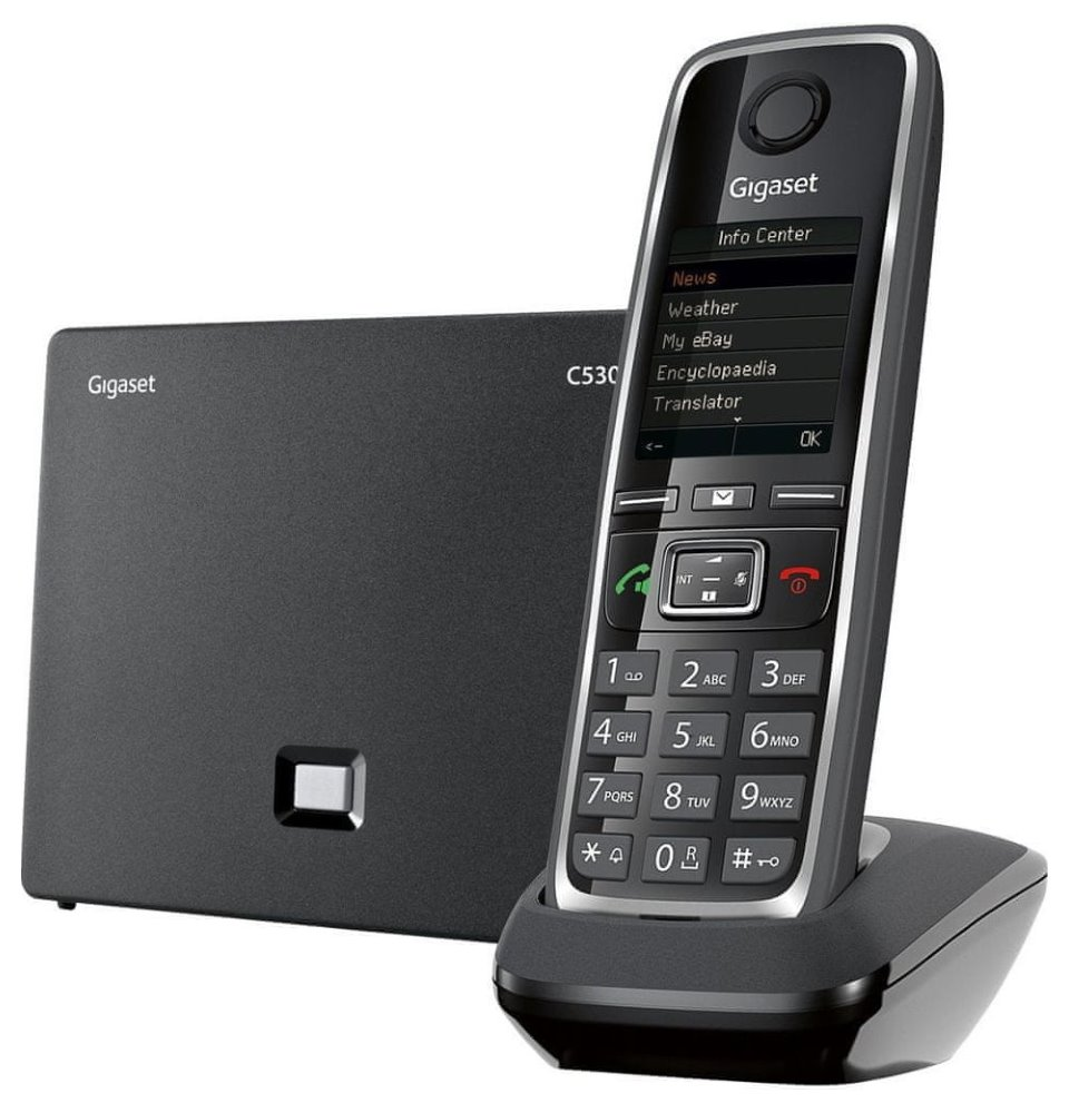 Bezdrátový IP telefon SIEMENS GIGASET C530IP Bezdrátový IP telefon, barva černá GIGASET-C530IP