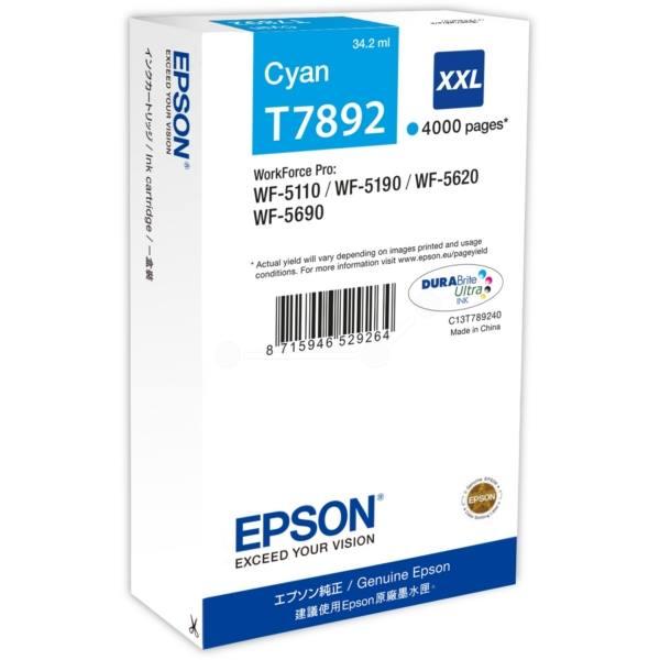 Inkoustová náplň Epson T7892 modrá Inkoustová náplň, originální, pro Epson WorkForce WF-5110DW, WF-5190D, WF-5620DWF, WF-5690DWF, XXL, modrá C13T789240