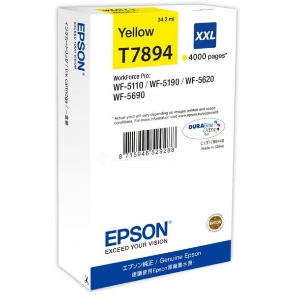 Inkoustová náplň Epson T7894 žlutá Inkoustová náplň, originální, pro Epson WorkForce WF-5110DW, WF-5190D, WF-5620DWF, WF-5690DWF, XXL, žlutá C13T789440