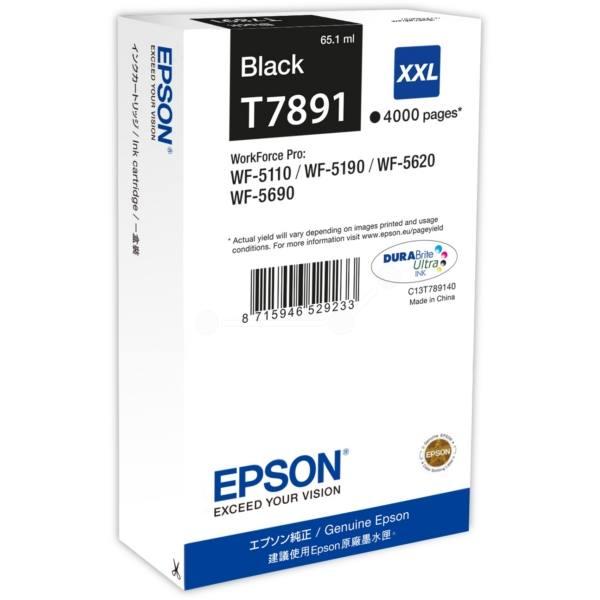 Inkoustová náplň Epson T7891 černá Inkoustová náplň, originální, pro Epson WorkForce WF-5110DW, WF-5190D, WF-5620DWF, WF-5690DWF, XXL, černá C13T789140