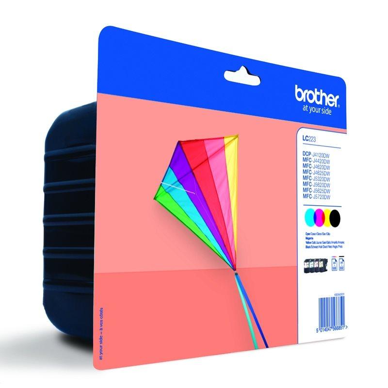 BROTHER inkoustová náplň LC-223VALBP/ multipack/ Černá + tři barvy/ 4x 550 stran
