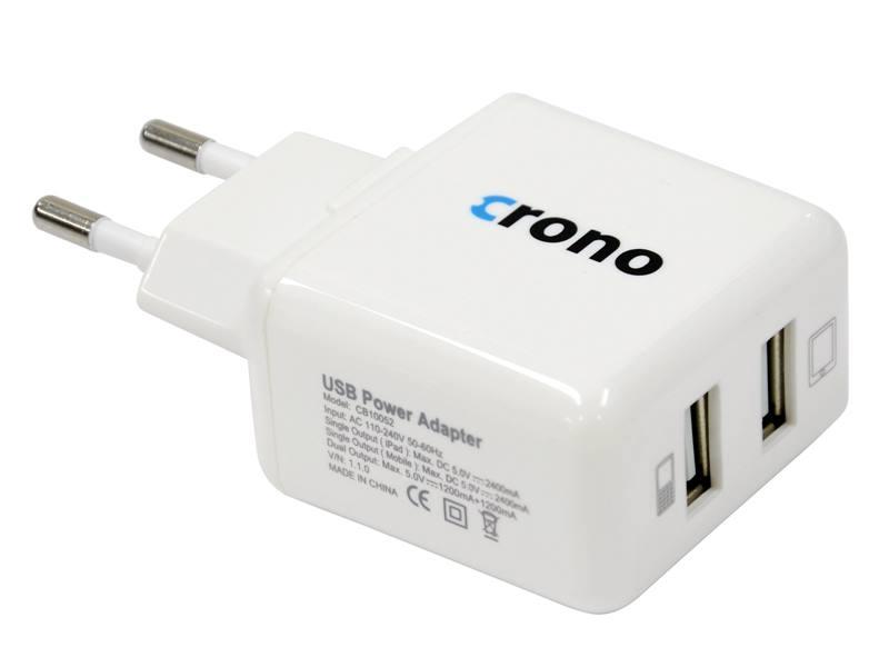 Nabíječka Crono CB10052 240V Nabíječka, univerzální, 2 x USB, 110V-240V, 2400 + 1200 mA, bílá