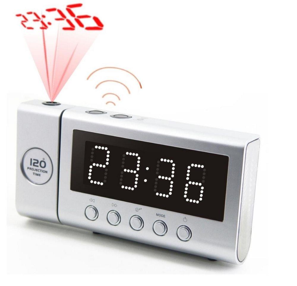 Radiobudík Soundmaster FUR6100SI Radiobudík, stmívatelný displej, s projekcí, rádiem řízený čas, stříbrný FUR6100SI