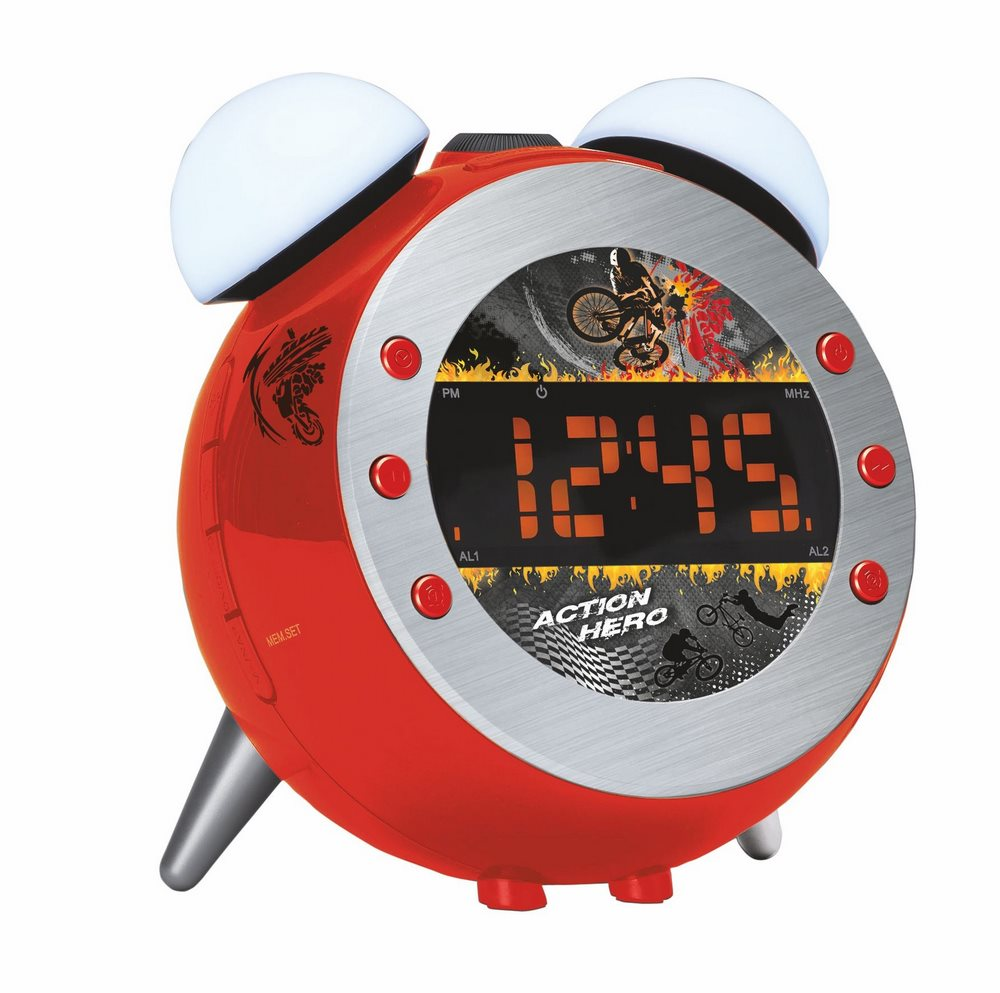 Radiobudík Soundmaster UR140RO Radiobudík, stmívatelný displej, s projekcí, červený UR140RO