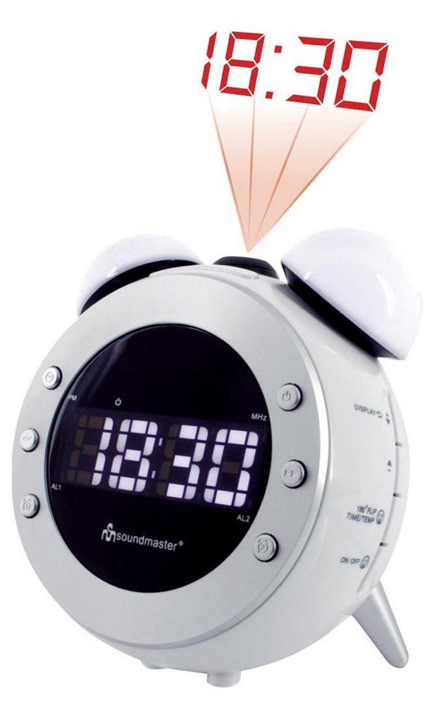 Radiobudík Soundmaster UR140WS Radiobudík, stmívatelný displej, s projekcí, bílý UR140WS