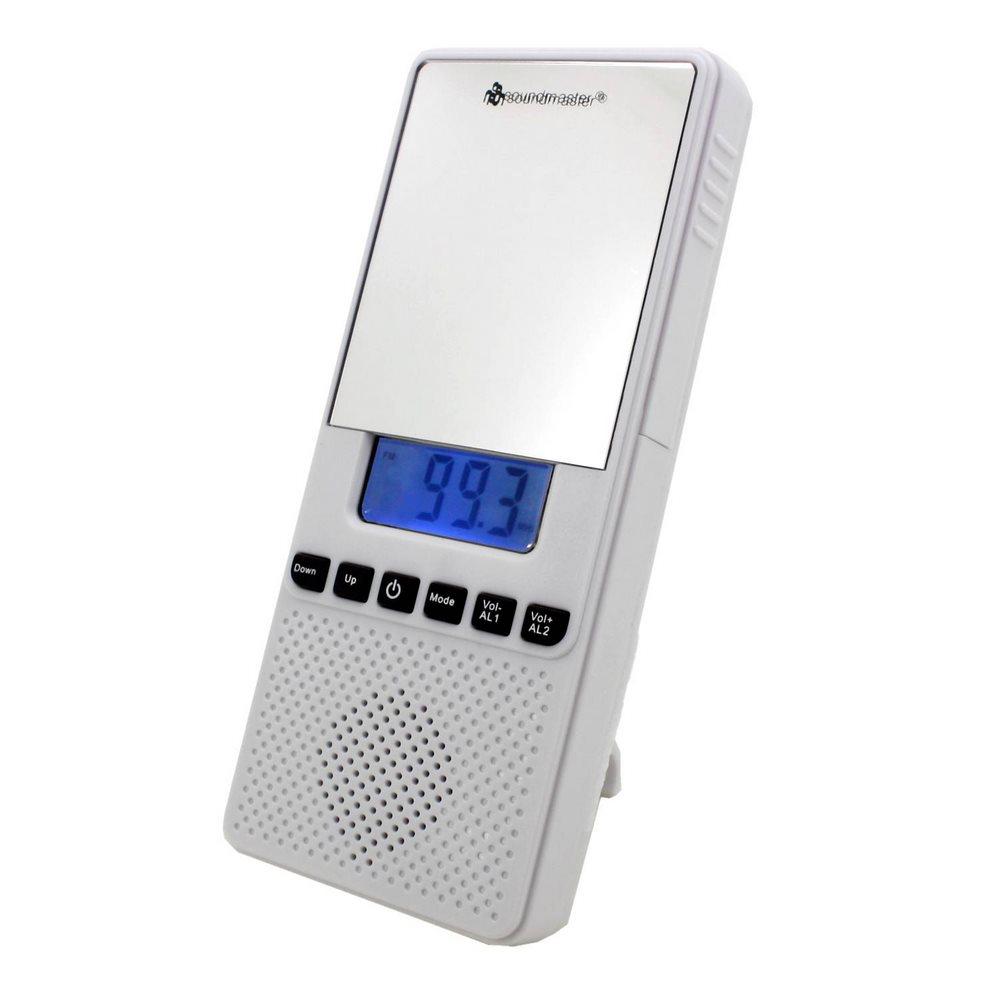 Rádio Soundmaster BR80 Rádio, koupelnové, na baterie, FM, LCD displej, Dual alarm, zrcátko, bílý BR80