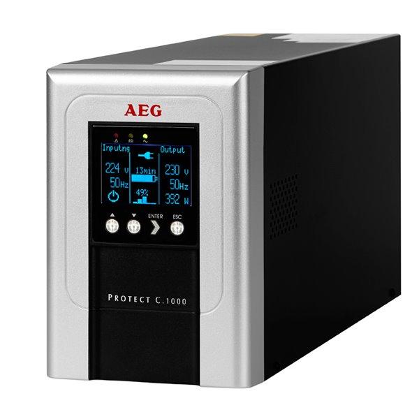 Záložní zdroj UPS AEG UPS Protect C.1000 Záložní zdroj UPS, 1000 VA, 800 W, 230 V, online UPS, model 2014 6000016103