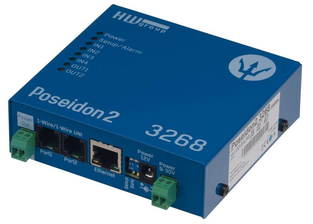 Monitorovací jednotka HwG Poseidon2 3268 Monitorovací jednotka, Ethernet I/O, 4 DI, 2 DO Poseidon2 3268