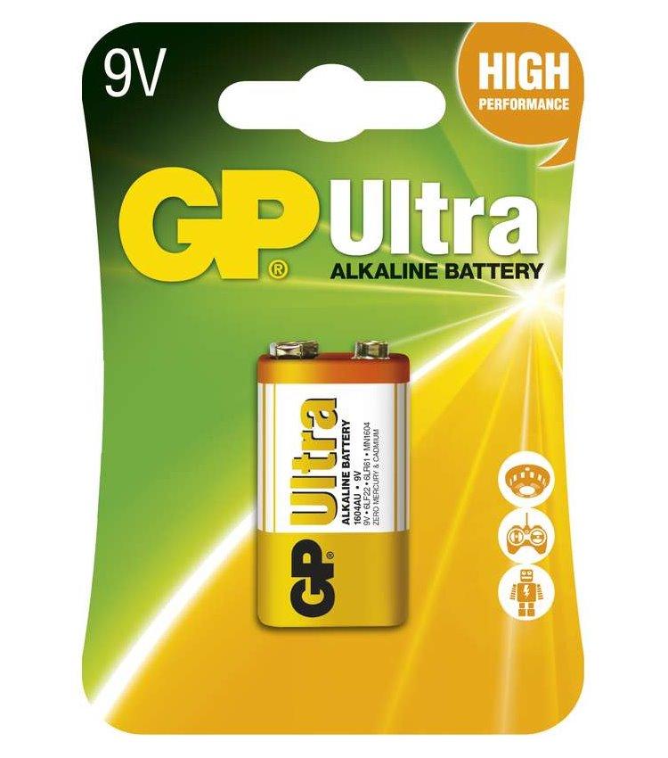 Baterie GP 9V Ultra Baterie, Alkalická, 9V, Ultra 1 ks 1014511000