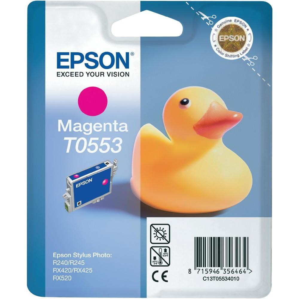 Inkoustová náplň Epson T0553 purpurová Inkoustová náplň, originální, pro Epson Stylus Photo R240, RX 420, RX425, RX 520, purpurová C13T05534010