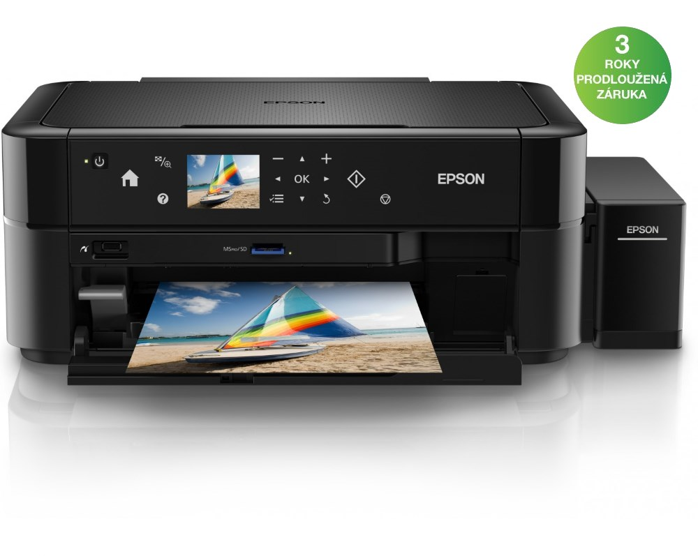 Multifunkční tiskárna Epson L850 Barevná multifunkční inkoustová tiskárna, 5760 x 1440, A4, MFZ, LCD, čtečka, potisk DVD, 6 barev, USB C11CE31401