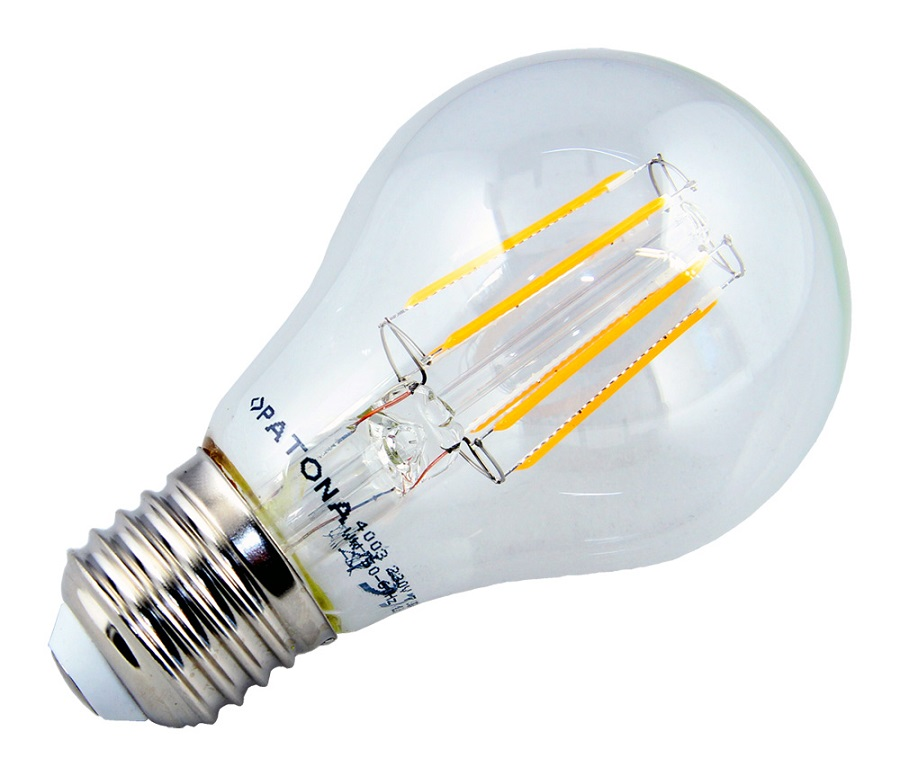 LED žárovka PATONA E27 7,5W teplá bílá LED žárovka, 230V, A60 Filament, 810lm PT4003