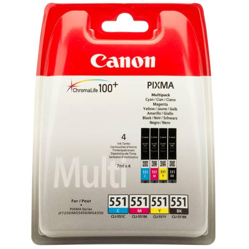 Inkoustová náplň Canon CLI-551-C+M+Y+BK Inkoustová náplň, multipack, pro Canon Pixma iP7250, iP8750, MG5450, MG5550, MG6350, MG7150, MX925 6509B009